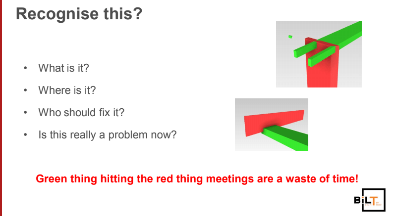 Figure 3.0 The pointlessness of looking at Navisworks clashes alone: green thingy vs red thingy meetings.