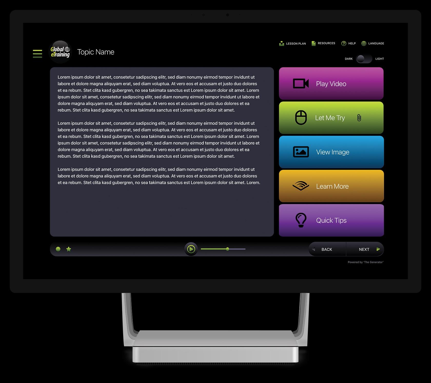 Course Interface on Desktop